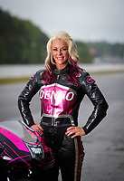 May 3, 2019; Commerce, GA, USA; NHRA pro stock motorcycle rider Angie Smith poses for a portrait prior to qualifying for the Southern Nationals at Atlanta Dragway. Mandatory Credit: Mark J. Rebilas-USA TODAY Sports