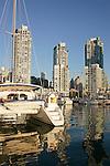Vancouver, Canada, False Creek, Expo site, British Columbia, yacht harbor, highrise condominiums,