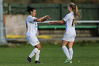 Laura Mills (left) celebrates after she scored the opening goal in the FA Women's Premier League South East Division One match between MK Dons Ladies and Luton Town Ladies at Newport Pagnell FC, The Pavillion, Newport Pagnell, Buckinghamshire MK16 0DF on 29 October 2017. Photo by David Horn.