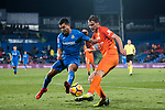 Bakary Kone (R) of Malaga CF battles for the ball with Angel Luis Rodriguez Diaz of Getafe CF during the La Liga 2017-18 match between Getafe CF and Malaga CF at Coliseum Alfonso Perez on 12 January 2018 in Getafe, Spain. Photo by Diego Gonzalez / Power Sport Images