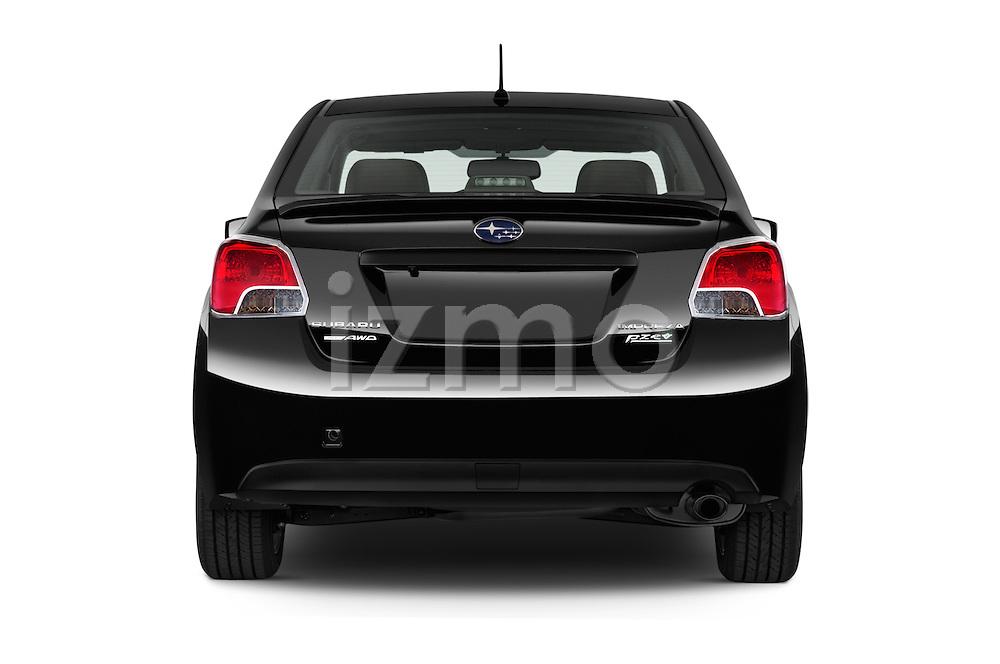 Straight rear view of a 2015 Subaru Impreza premium 4 Door Sedan stock images