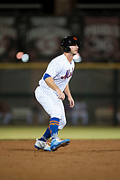 Scottsdale Scorpions first baseman Peter Alonso (20), of the New York Mets organization, leads off second base during an Arizona Fall League game against the Mesa Solar Sox on October 9, 2018 at Scottsdale Stadium in Scottsdale, Arizona. The Solar Sox defeated the Scorpions 4-3. (Zachary Lucy/Four Seam Images)