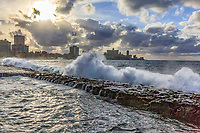 Waves breaking along the Malecón in Havana, late afternoon.