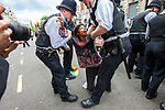 © Joel Goodman - 07973 332324 . 30/06/2011 . London , UK . Protesters surrounded by police are detained on Whitehall . Tens of thousands of public sector workers demonstrate and march through the City of London in protest at proposed changes to their pensions . Photo credit : Joel Goodman