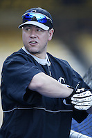 Jack Cust of the Colorado Rockies before a 2002 MLB season game against the Los Angeles Dodgers at Dodger Stadium, in Los Angeles, California. (Larry Goren/Four Seam Images)