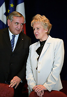 FILE PHOTO -  Prime Minister of France Jean-Pierre Raffarin, May 24, 2003, while visiting  Quebec Province, <br /> <br /> PHOTO : Agence quebec Presse