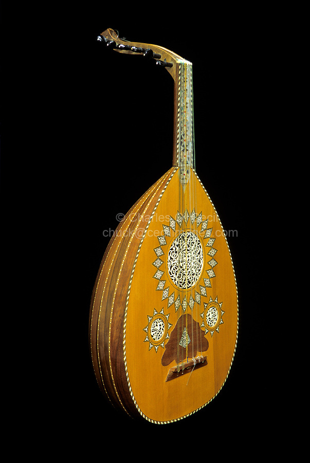 Syrian Oud or 'Ud, made in Damascus, with ivory and mother-of-pearl decoration.  Unlike the European lute, the oud has no frets on the neck to aid the placement of fingers.  THIS IMAGE MAY NOT BE LICENSED FOR USE ON A BOOK COVER UNTIL NOVEMBER 2045.  IT IS AVAILABLE FOR ALL OTHER USES.