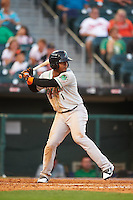 Norfolk Tides third baseman Ozzie Martinez (1) at bat during a game against the Buffalo Bisons on July 18, 2016 at Coca-Cola Field in Buffalo, New York.  Norfolk defeated Buffalo 11-8.  (Mike Janes/Four Seam Images)