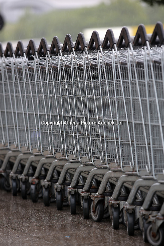 A row of hopping trolleys at a Morrisons super market
