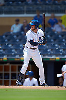 Dalton Kelly (19) of the Durham Bulls at bat against the Columbus Clippers at Durham Bulls Athletic Park on June 1, 2019 in Durham, North Carolina. The Bulls defeated the Clippers 11-5 in game one of a doubleheader. (Brian Westerholt/Four Seam Images)