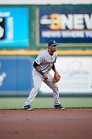 Trenton Thunder shortstop Abiatal Avelino (9) during a game against the Richmond Flying Squirrels on May 11, 2018 at The Diamond in Richmond, Virginia.  Richmond defeated Trenton 6-1.  (Mike Janes/Four Seam Images)