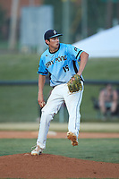 Dry Pond Blue Sox pitcher Michael Crayton (19) (West Stanley HS) in action against the Mooresville Spinners at Moor Park on July 2, 2020 in Mooresville, NC.  The Spinners defeated the Blue Sox 9-4. (Brian Westerholt/Four Seam Images)