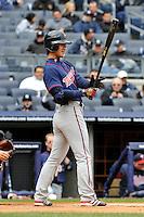 Apr 07, 2011; Bronx, NY, USA; Minnesota Twins infielder Tsuyoshi Nishioka (1) during game against the New York Yankees at Yankee Stadium. Yankees defeated the Twins 4-3. Mandatory Credit: Tomasso De Rosa/ Four Seam Images