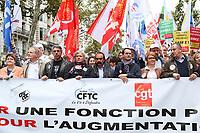 PHILIPPE MARTINEZ (SECRETAIRE GENERAL DE LA CGT) - MANIFESTATION DES FONCTIONNAIRES A PARIS, FRANCE, LE 10/10/2017.