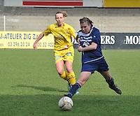 Waasland Beveren Sinaai Girls - Famkes Merkem : .Kwartfinale beker van België 2011-2012 : Rebecca Dierick aan de bal voor Lim De Vetter..foto DAVID CATRY / JOKE VUYLSTEKE / Vrouwenteam.be