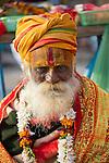 Holy man (Sadhu), Varanasi, Uttar Pradesh, India,