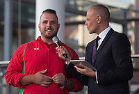 Wednesday September 10, 2014 <br /> Picture: Aled Davies, Jason Mohammad<br /> RE: Jason Mohammad speaks to Aled Davies at the Commonwealth Games, Team Wales homecoming ceremony at the Senedd, Cardiff, South Wales, United Kingdom.