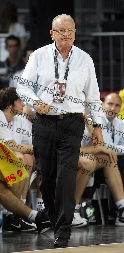 Dusan IVKOVIC (Serbia) head coach, reacts during the semi-final World championship basketball match against Turkey in Istanbul, Serbia-Turkey, Turkey on Saturday, Sep. 11, 2010. (Novak Djurovic/Starsportphoto.com) .