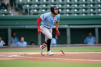 Center fielder Jonathan Ornelas (3) of the Hickory Crawdads in a game against the Greenville Drive on Thursday, August 26, 2021, at Fluor Field at the West End in Greenville, South Carolina. (Tom Priddy/Four Seam Images)