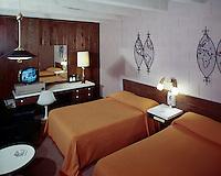 Airport Motor Inn, Norfolk, VA.<br /> 1950's Retro Motel Room with a Black & White TV.