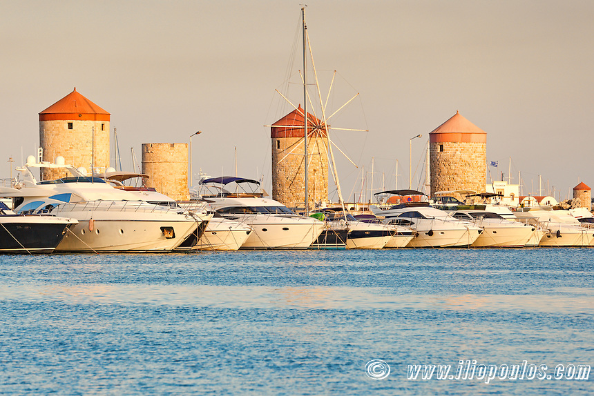 The windmills at the old port of Rhodes, Greece