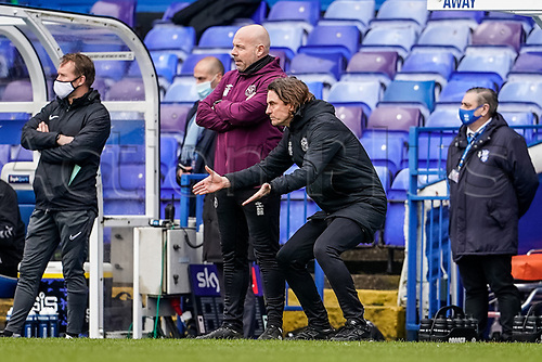 20th February 2021; St Andrews Stadium, Coventry, West Midlands, England; English Football League Championship Football, Coventry City v Brentford; Thomas Frank Manager  of Brentford shows his frustration to his players