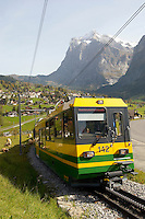 Cog & Ratchet Railway train climbing through alpine pastures - Grinderwald - Alps - Switzerland
