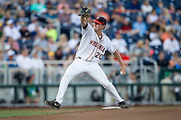 Virginia Cavaliers starting pitcher Brandon Waddell (20) delivers a pitch to the plate against the Florida Gators in Game 13 of the NCAA College World Series on June 20, 2015 at TD Ameritrade Park in Omaha, Nebraska. The Cavaliers beat the Gators 5-4. (Andrew Woolley/Four Seam Images)