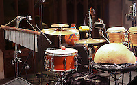 Instruments from Carmen Souza and her band, St Mary's Church, Petworth Festival, West Sussex.