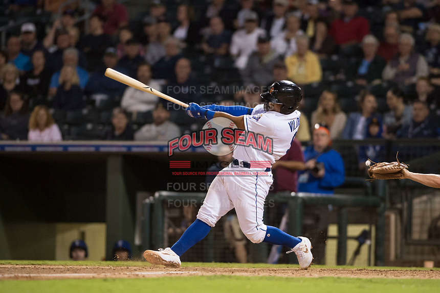 AFL West catcher Meibrys Viloria (9), of the Surprise Saguaros and Kansas City Royals organization, swings at a pitch during the Fall Stars game at Surprise Stadium on November 3, 2018 in Surprise, Arizona. The AFL West defeated the AFL East 7-6 . (Zachary Lucy/Four Seam Images)