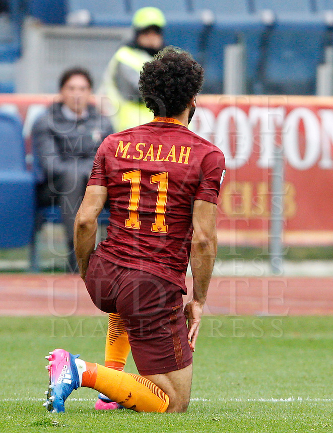 Roma's Mohamed Salah reacts during the Italian Serie A football match between Roma and Napoli at Rome's Olympic stadium, 4 March 2017. <br /> UPDATE IMAGES PRESS/Riccardo De Luca
