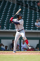 Peoria Javelinas center fielder Cristian Pache (27), of the Atlanta Braves organization, at bat during an Arizona Fall League game against the Mesa Solar Sox at Sloan Park on October 11, 2018 in Mesa, Arizona. Mesa defeated Peoria 10-9. (Zachary Lucy/Four Seam Images)