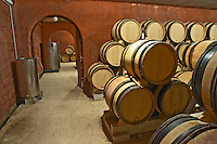 Domaine de Montcalmes in Puechabon. Terrasses de Larzac. Languedoc. Barrel cellar. France. Europe.