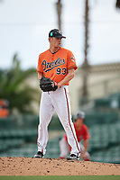 Baltimore Orioles pitcher Timothy Naughton (93) gets ready to deliver a pitch during a Florida Instructional League game against the Boston Red Sox on October 8, 2018 at the Ed Smith Stadium in Sarasota, Florida.  (Mike Janes/Four Seam Images)
