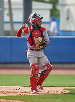 Champagnat Catholic Lions catcher Yoel Rojas (10) during the IMG National Classic on March 29, 2021 at IMG Academy in Bradenton, Florida.  (Mike Janes/Four Seam Images)