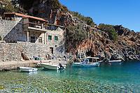 Fishing boats in the village Alypa in Eastern Mani, Greece