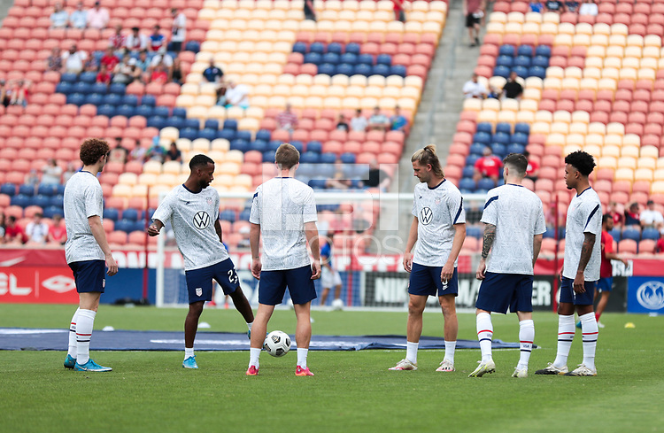 SANDY, UT - JUNE 10: The United States warming up before a game between Costa Rica and USMNT at Rio Tinto Stadium on June 10, 2021 in Sandy, Utah.