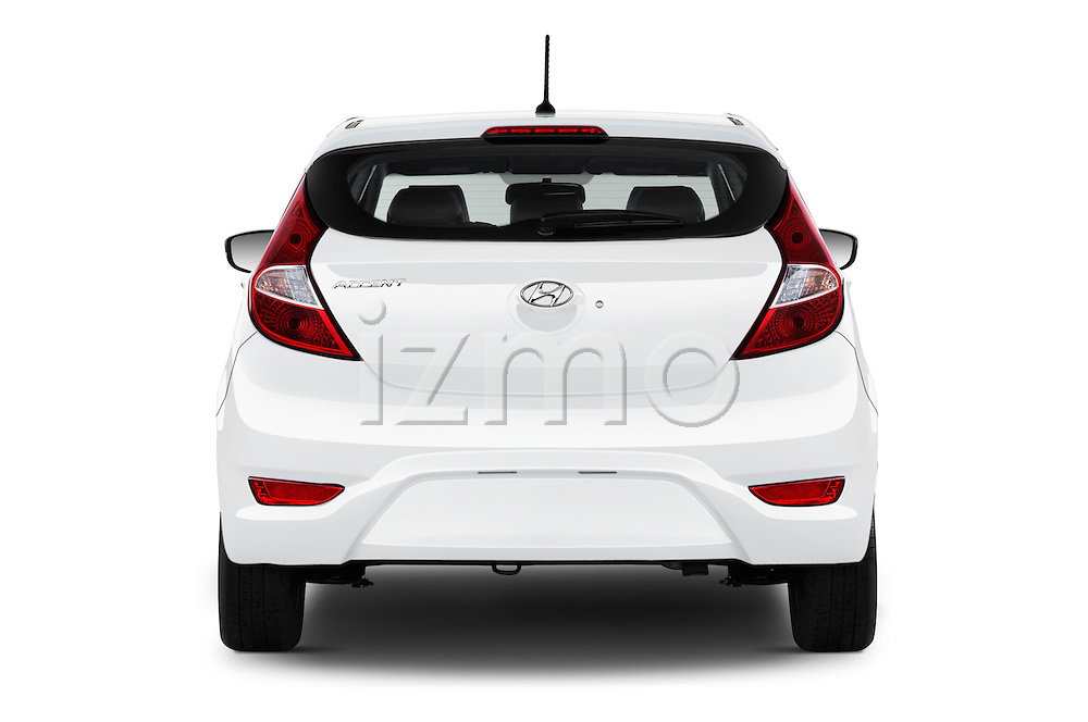 Straight rear view of 2017 Hyundai Accent SE 6-Speed Automatic 5 Door Hatchback Rear View  stock images