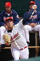 T.J. House #16 of the Kinston Indians warming up in the bullpen before a game against the Lynchburg Hillcats at Granger Stadium on April 28, 2010 in Kinston, NC. Photo by Robert Gurganus/Four Seam Images.