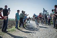 Oliver Naesen (BEL/AG2R-LaMondiale), Marcel Sieberg (DEU/Lotto-Soudal) & John Degenkolb (DEU/Trek-Segafredo)<br /> <br /> 115th Paris-Roubaix 2017 (1.UWT)<br /> One Day Race: Compiègne › Roubaix (257km)