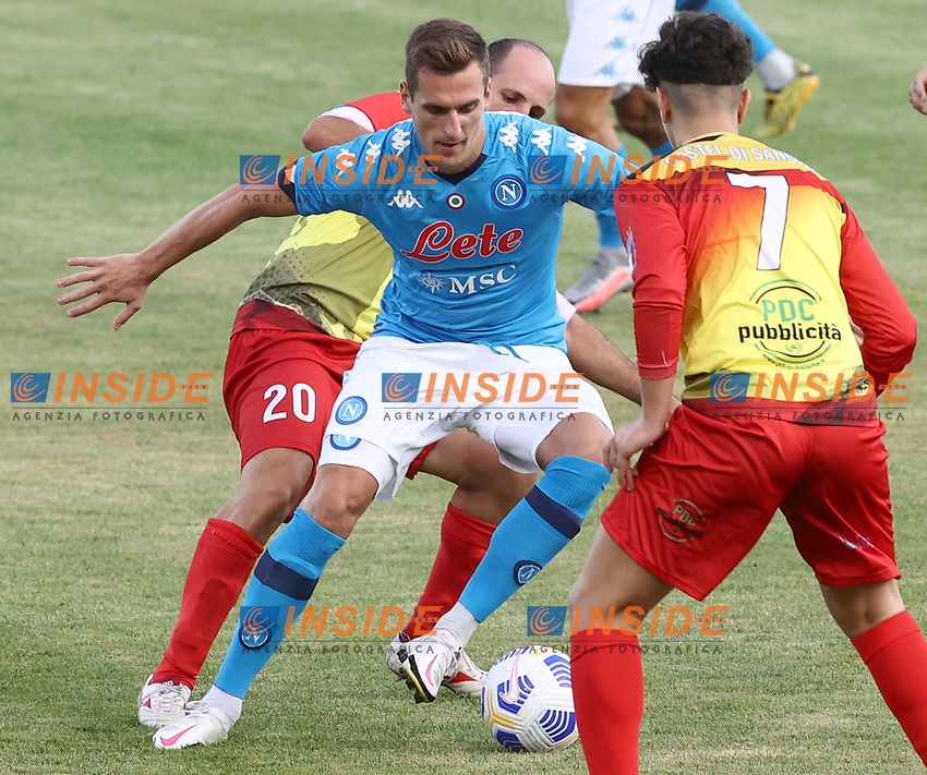 Arkadiusz Milik of SSC Napoli compete for the ball during the friendly football match between SSC Napoli and Castel di Sangro Cep 1953 at stadio Patini in Castel di Sangro, Italy, August 28, 2020. <br /> Photo Cesare Purini / Insidefoto