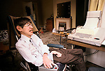 Professor Stephen Hawking 1981 at home Cambridge UK 1980s