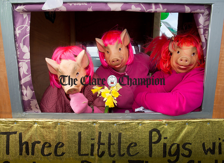 The Three little pigs in their house at the St Patrick's Day Parade at Fanore. Photograph by John Kelly.