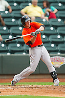 Michael Ohlman (34) of the Frederick Keys takes his swings against the Winston-Salem Dash at BB&T Ballpark on July 21, 2013 in Winston-Salem, North Carolina.  The Dash defeated the Keys 3-2.  (Brian Westerholt/Four Seam Images)