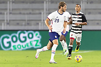 ORLANDO CITY, FL - JANUARY 31: Tanner Tessmann #25 of the United States moves with the ball during a game between Trinidad and Tobago and USMNT at Exploria stadium on January 31, 2021 in Orlando City, Florida.