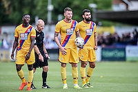 Connor Wickham of Crystal Palace prepares to take  free kick (center) during the Friendly match between AFC Wimbledon and Crystal Palace at the Cherry Red Records Stadium, Kingston, England on 27 July 2016. Photo by Edward Thomas / PRiME Media Images.