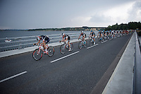 peloton led by Team IAM over the bridge of the Lac de Pareloup<br /> <br /> stage 14: Rodez - Mende (178km)<br /> 2015 Tour de France