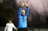 WINSTON-SALEM, NC - NOVEMBER 24: Referee Mike Stutt stops the clock during a game between Maryland and Wake Forest at W. Dennie Spry Stadium on November 24, 2019 in Winston-Salem, North Carolina.