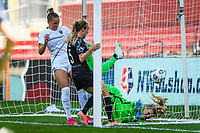 BRIDGEVIEW, IL - JUNE 5: Rachel Hill #5 of the Chicago Red Stars scores past Casey Murphy #1 of the North Carolina Courage during a game between North Carolina Courage and Chicago Red Stars at SeatGeek Stadium on June 5, 2021 in Bridgeview, Illinois.