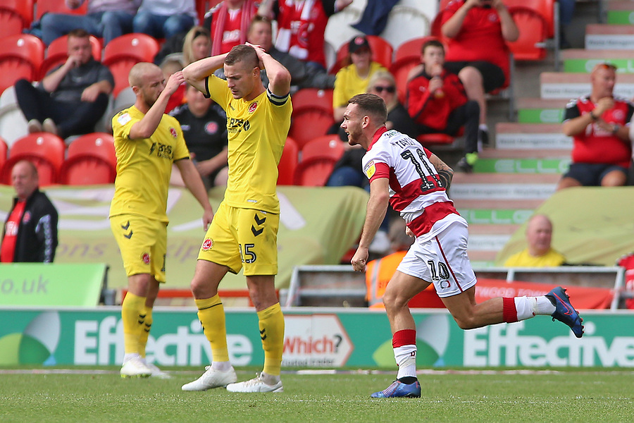 Fleetwood players show their dejection as Doncaster take all three points<br /> <br /> Photographer David Shipman/CameraSport<br /> <br /> The EFL Sky Bet League One - Doncaster Rovers v Fleetwood Town - Saturday 17th August 2019  - Keepmoat Stadium - Doncaster<br /> <br /> World Copyright © 2019 CameraSport. All rights reserved. 43 Linden Ave. Countesthorpe. Leicester. England. LE8 5PG - Tel: +44 (0) 116 277 4147 - admin@camerasport.com - www.camerasport.com